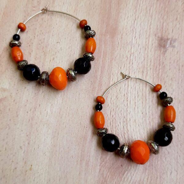 Black Orange Hoops Earrings | Black Orange Hoops Earrings |