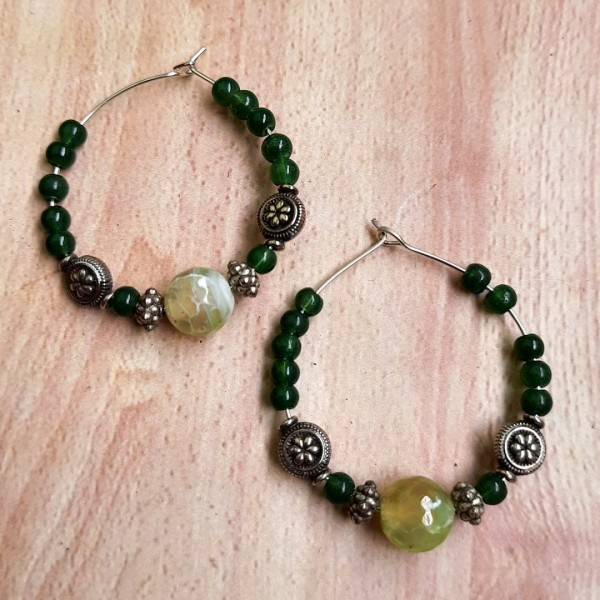 Green With Silver Hoops Earrings | Green With Silver Hoops Earrings |