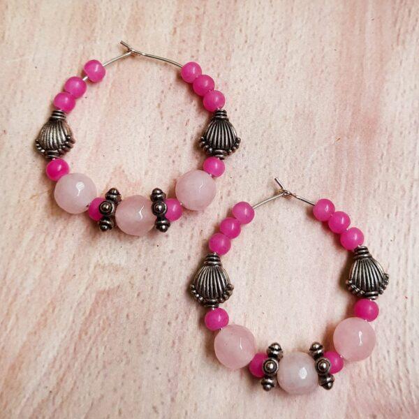 Pink Beads Hoops Earrings   Pink Beads Hoops Earrings  