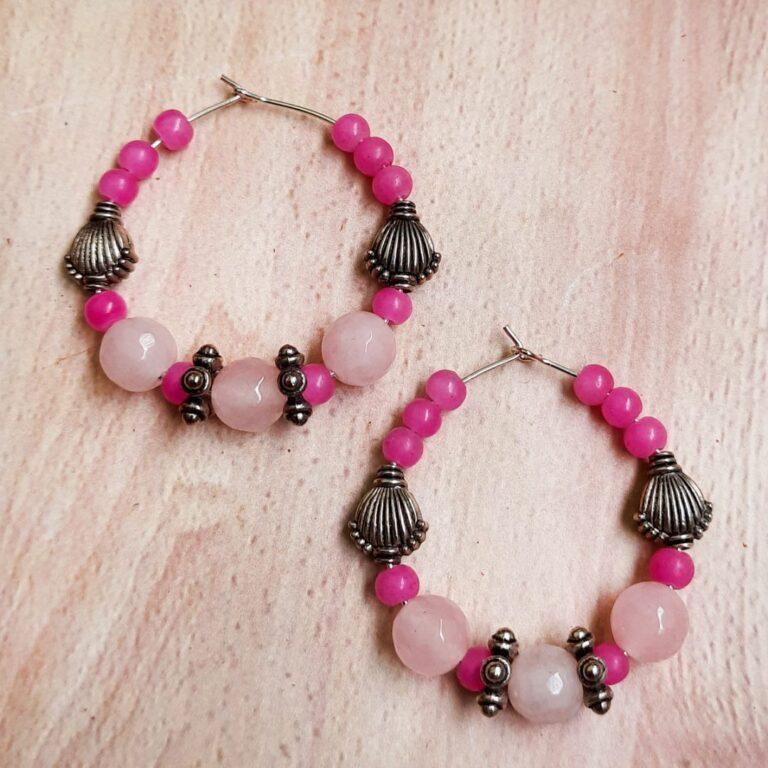 Pink Beads Hoops Earrings | Pink Beads Hoops Earrings |