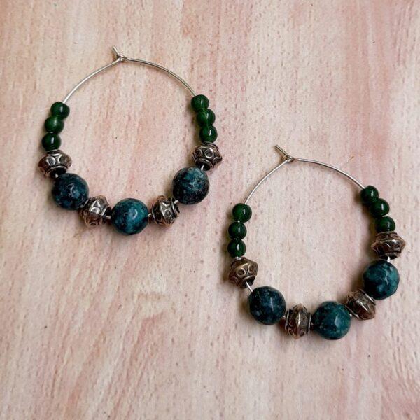 Green With Blue Hoops Earrings   Green With Blue Hoops Earrings  