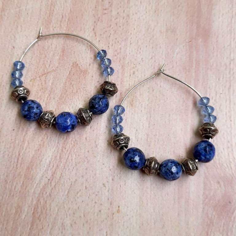 Blue with Silver Hoops Earrings | Blue with Silver Hoops Earrings |