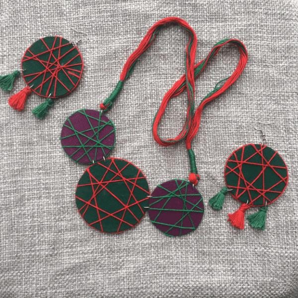 Jaal Handmade Neckpiece Set With Earrings | Jaal Handmade Neckpiece Set With Earrings |