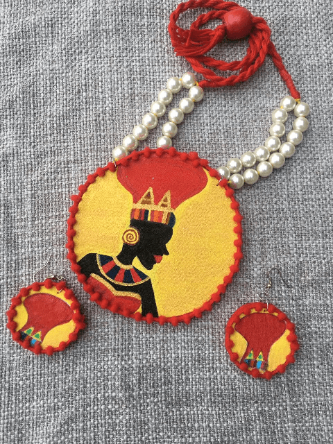 African Tribal Handpainted Neckpiece with Earrings set |