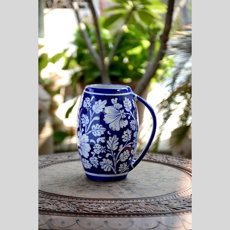BLUE POTTERY BLUE & WHITE FLORAL BEER MUG – 500 ML