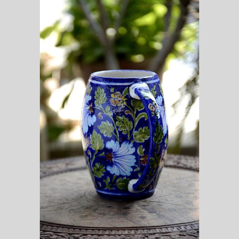 Blue Pottery Blue Floral Beer Mug   Blue Pottery Blue Floral Beer Mug  