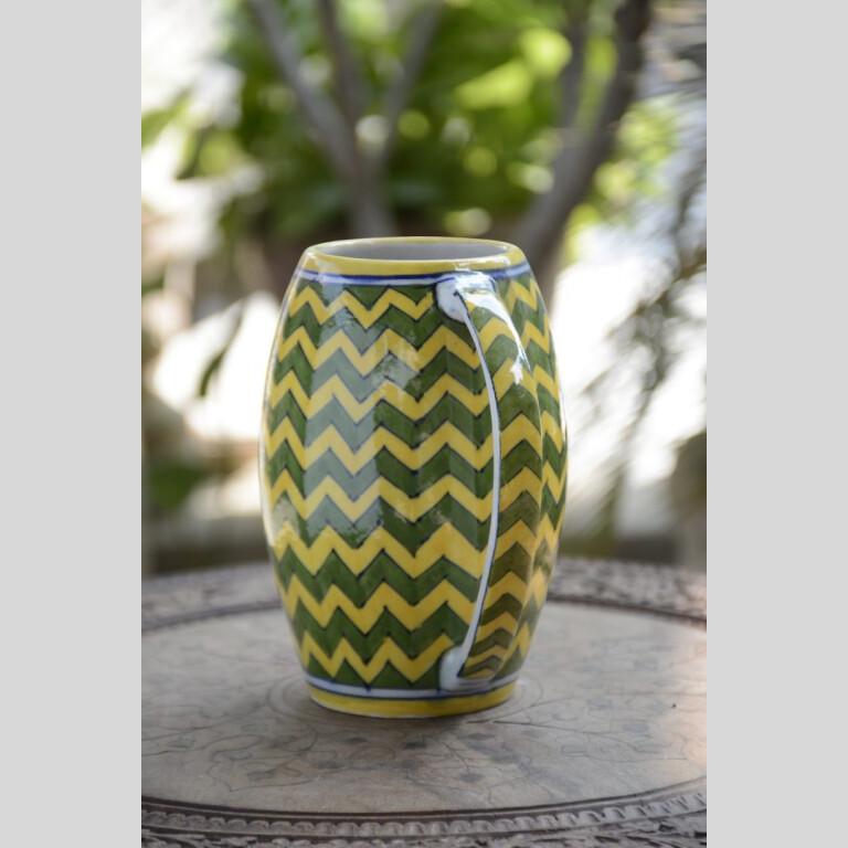 Blue Pottery Yellow & Green Zig Zag Beer Mug – 500 ML | Blue Pottery Yellow & Green Zig Zag Beer Mug |
