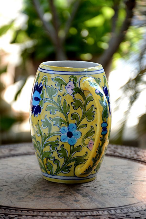 Blue Pottery Yellow Floral Beer Mug – 500 ML   Blue Pottery Yellow Floral Beer Mug  