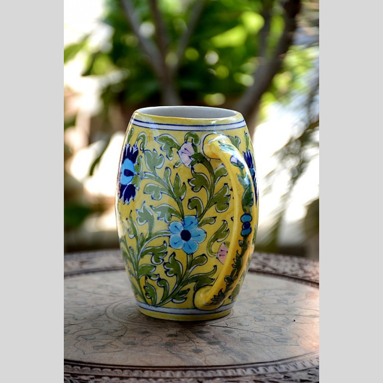 Blue Pottery Yellow Floral Beer Mug – 500 ML | Blue Pottery Yellow Floral Beer Mug |