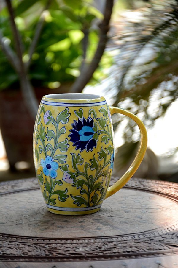 BLUE POTTERY YELLOW FLORAL BEER MUG – 500 ML