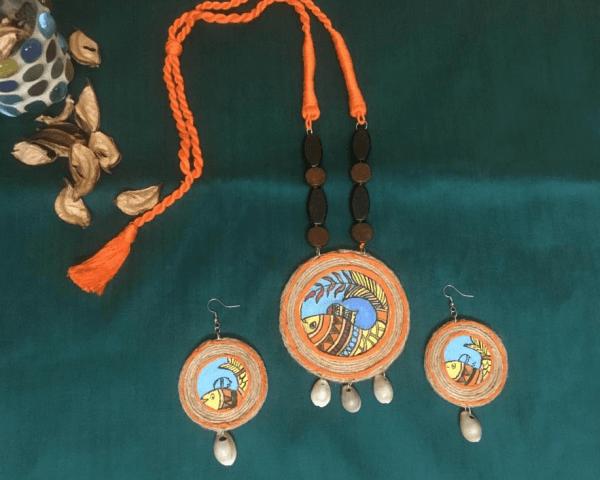 Handpainted Pisces Neckpiece with Earrings Set |