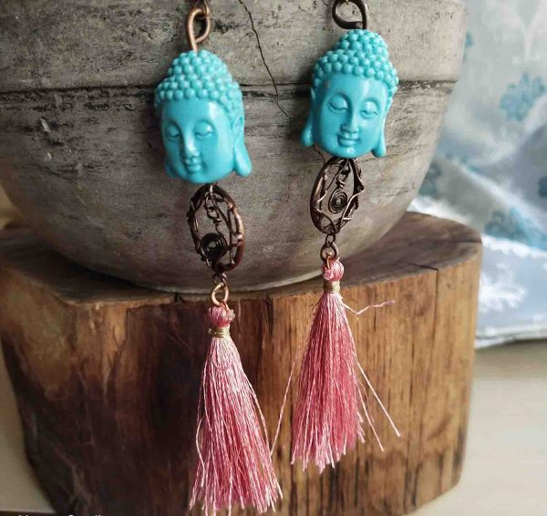 Blue Buddha Dream Catcher Earrings   Blue Buddha Dream Catcher Earrings  