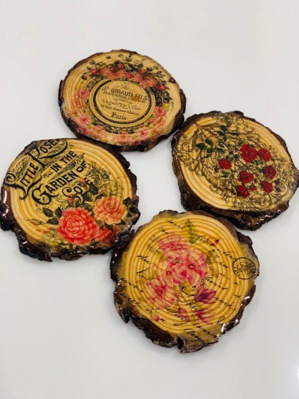Floral Wooden Coaster (Set Of 4)   Floral Wooden Coaster  