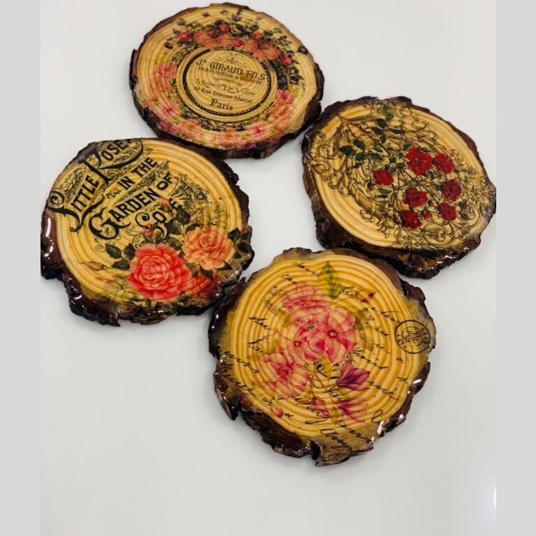 Floral Wooden Coaster (Set Of 4) | Floral Wooden Coaster |