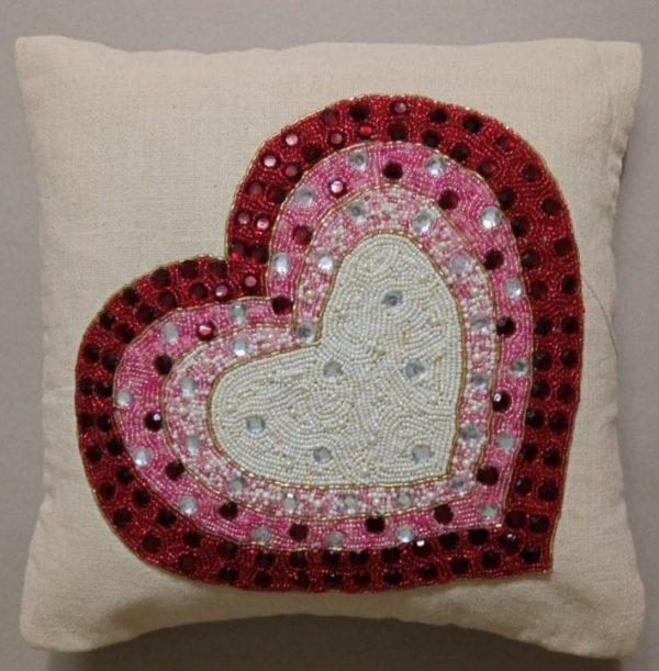 Designer Heart Cushion Cover